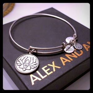 Alex and Ani lotus bangle in silver